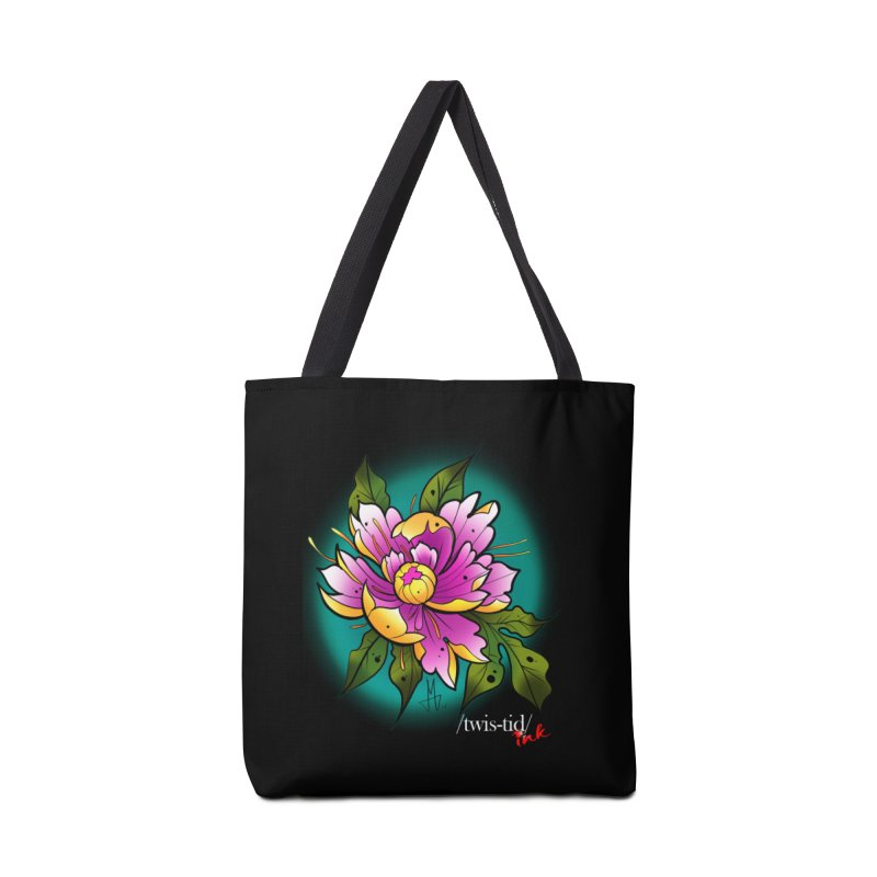 Twistid Flower yellow n pink Accessories Bag by Twistid ink's Artist Shop