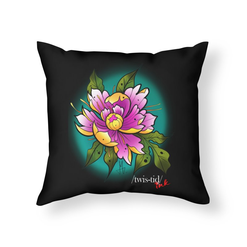 Twistid Flower yellow n pink Home Throw Pillow by Twistid ink's Artist Shop