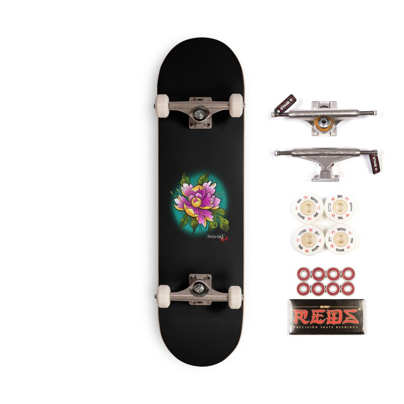 Twistid Flower yellow n pink Accessories Complete - Pro Skateboard by Twistid ink's Artist Shop