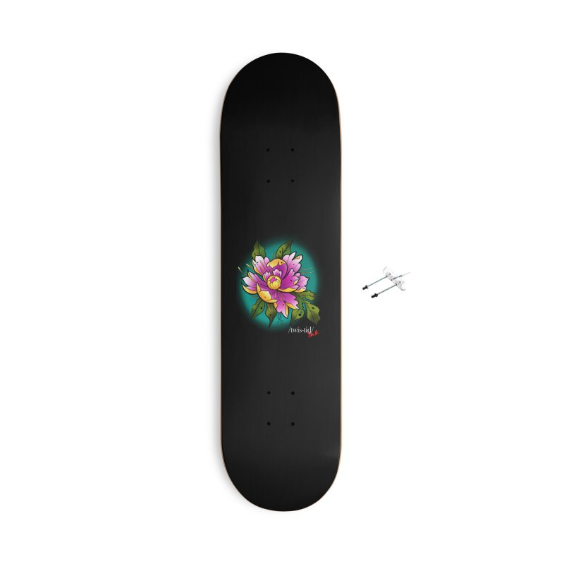 Twistid Flower yellow n pink Accessories With Hanging Hardware Skateboard by Twistid ink's Artist Shop