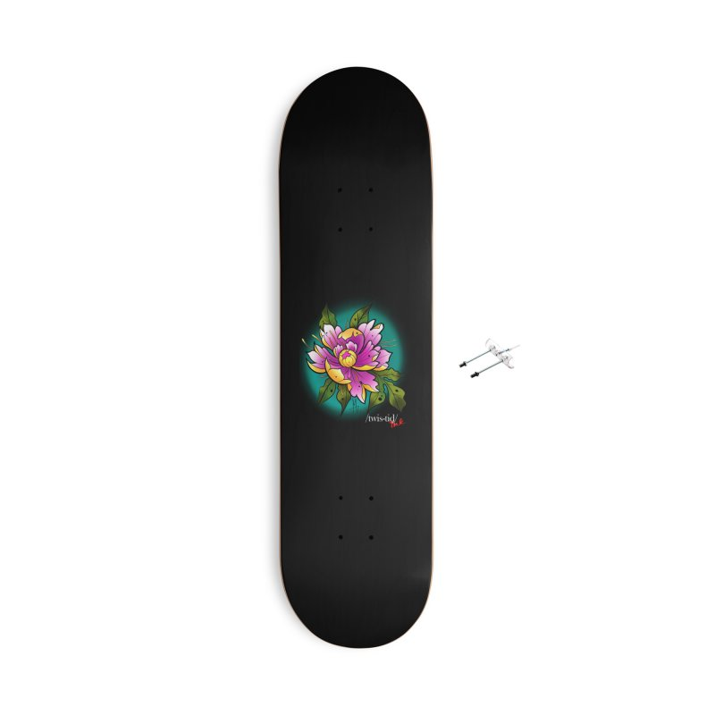 Twistid Flower yellow n pink Accessories Skateboard by Twistid ink's Artist Shop