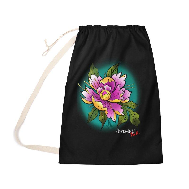 Twistid Flower yellow n pink Accessories Bag by Twistid ink's Artist Shop