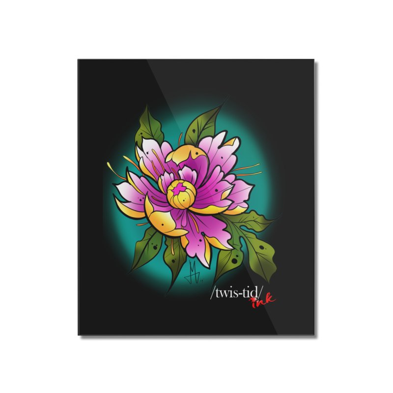 Twistid Flower yellow n pink Home Mounted Acrylic Print by Twistid ink's Artist Shop
