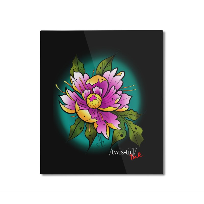 Twistid Flower yellow n pink Home Mounted Aluminum Print by Twistid ink's Artist Shop