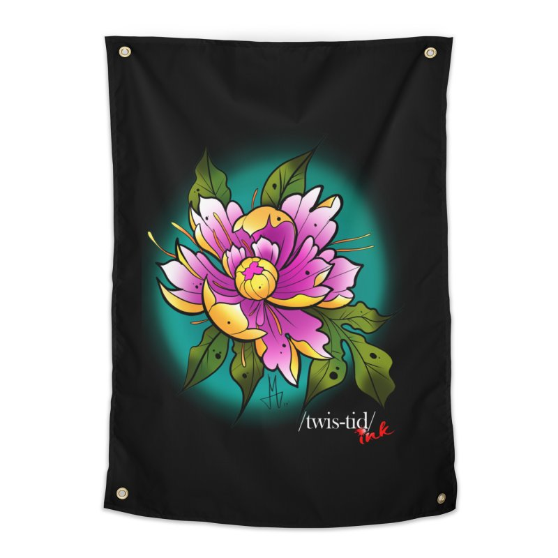 Twistid Flower yellow n pink Home Tapestry by Twistid ink's Artist Shop