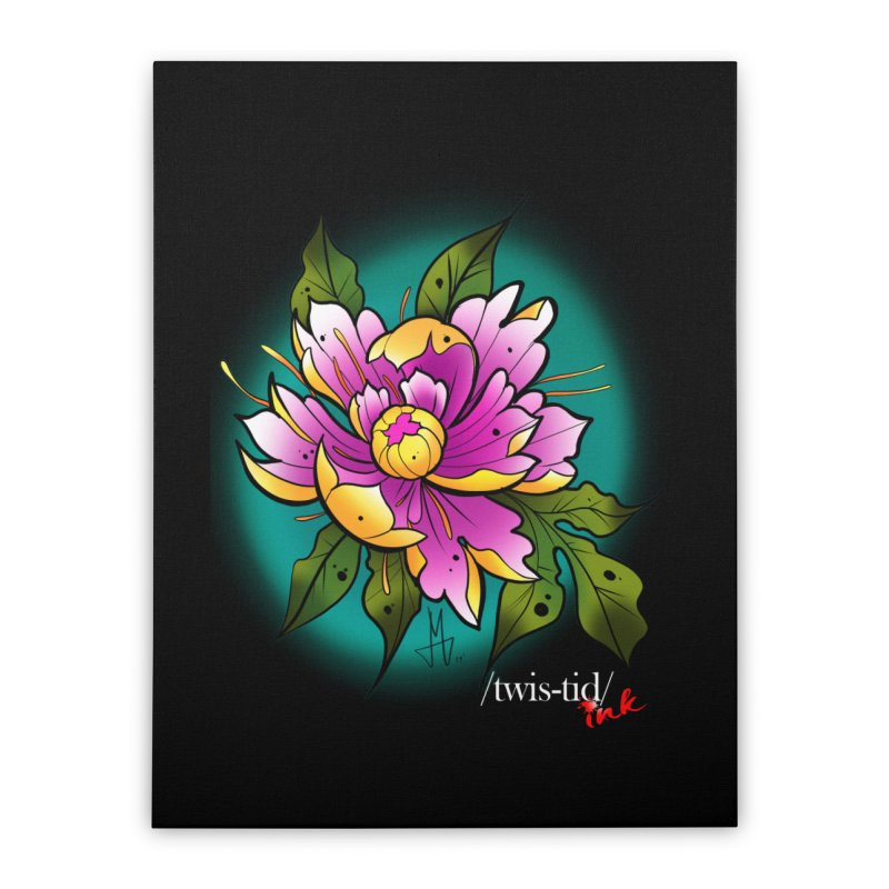 Twistid Flower yellow n pink Home Stretched Canvas by Twistid ink's Artist Shop