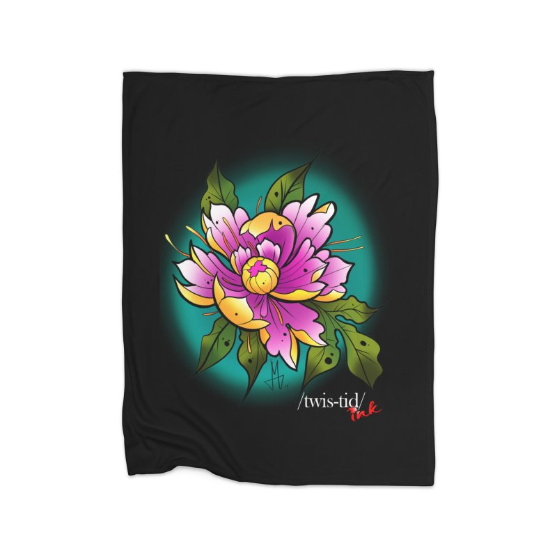 Twistid Flower yellow n pink Home Blanket by Twistid ink's Artist Shop
