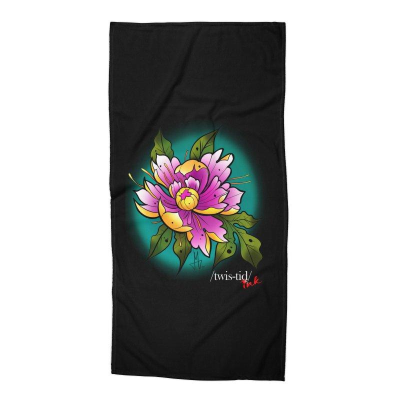 Twistid Flower yellow n pink Accessories Beach Towel by Twistid ink's Artist Shop