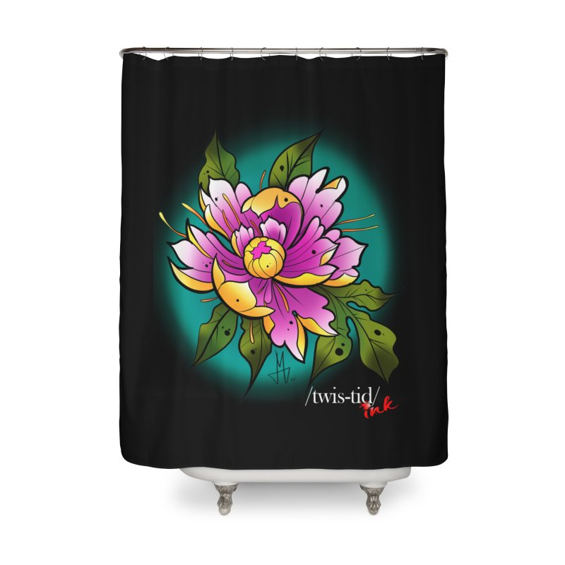 Twistid Flower yellow n pink Home Shower Curtain by Twistid ink's Artist Shop