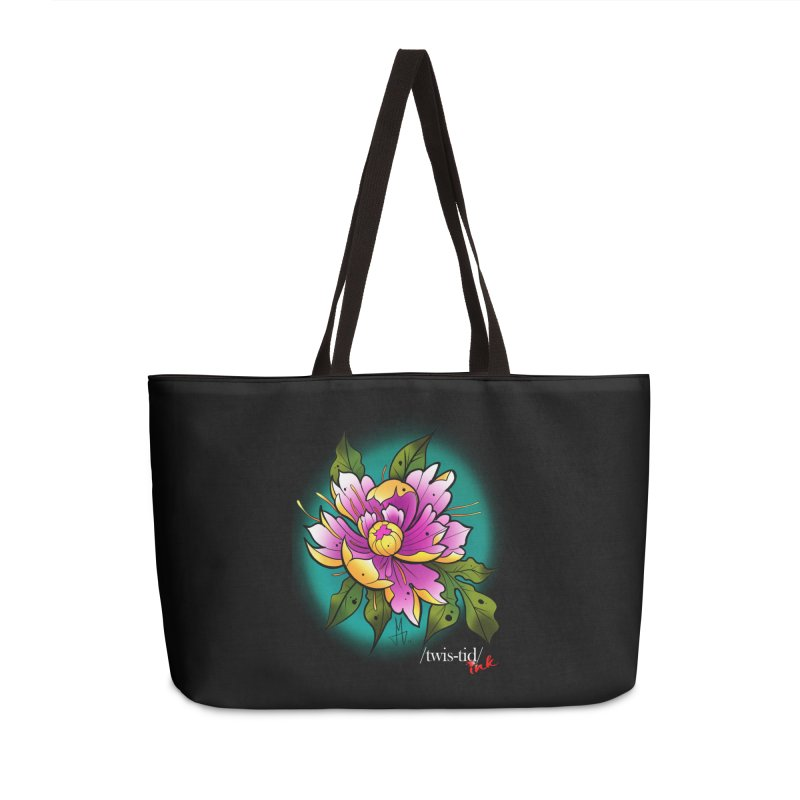 Twistid Flower yellow n pink Accessories Weekender Bag Bag by Twistid ink's Artist Shop