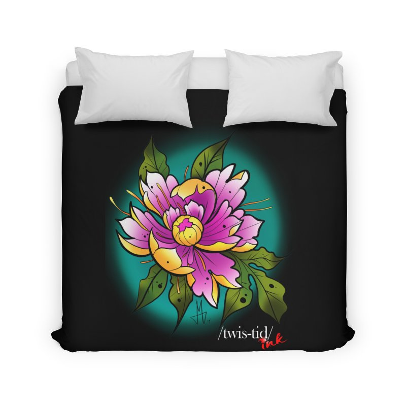 Twistid Flower yellow n pink Home Duvet by Twistid ink's Artist Shop
