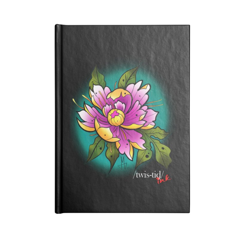 Twistid Flower yellow n pink Accessories Notebook by Twistid ink's Artist Shop