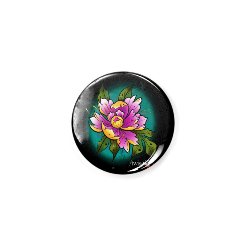 Twistid Flower yellow n pink Accessories Button by Twistid ink's Artist Shop