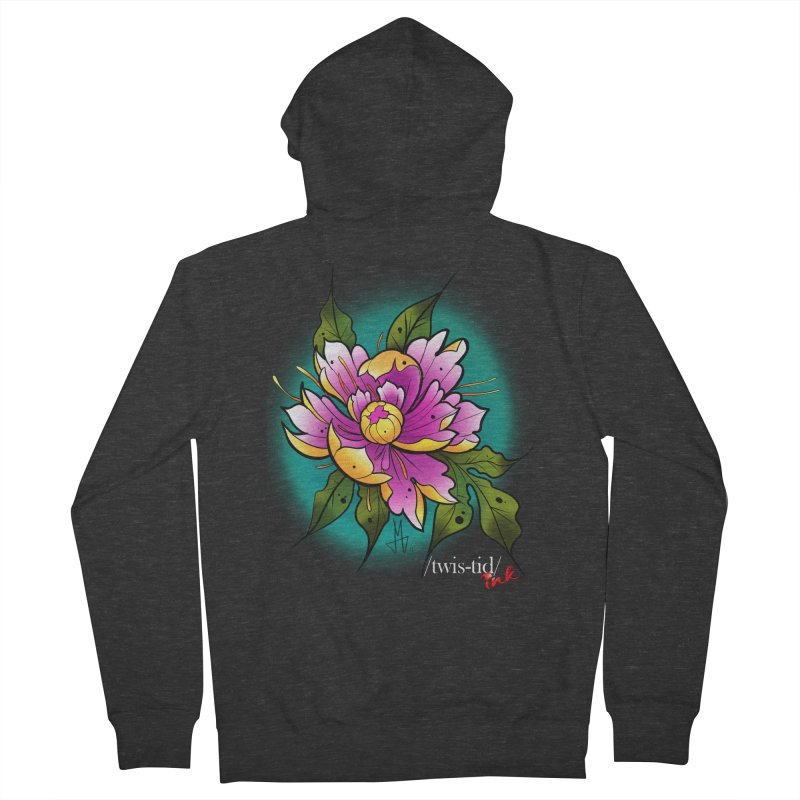 Twistid Flower yellow n pink Women's French Terry Zip-Up Hoody by Twistid ink's Artist Shop