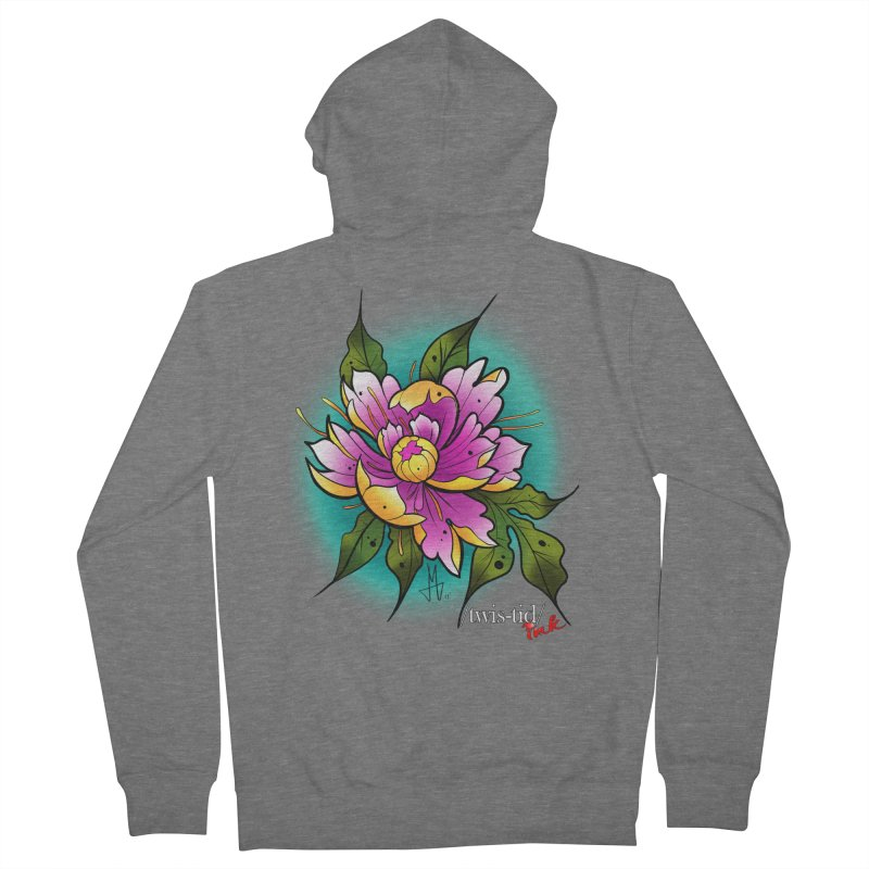 Twistid Flower yellow n pink Men's French Terry Zip-Up Hoody by Twistid ink's Artist Shop