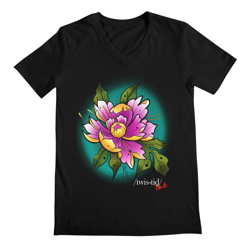 Twistid Flower yellow n pink Men's V-Neck by Twistid ink's Artist Shop