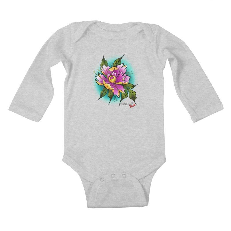 Twistid Flower yellow n pink Kids Baby Longsleeve Bodysuit by Twistid ink's Artist Shop