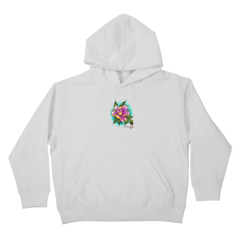 Twistid Flower yellow n pink Kids Pullover Hoody by Twistid ink's Artist Shop