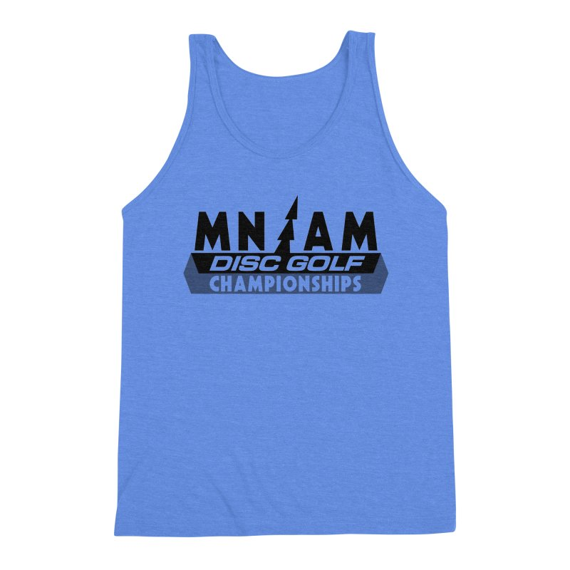 MN AMS Disc Golf Championships - Black in Men's Triblend Tank Heather Sky Blue by TyDyed Art
