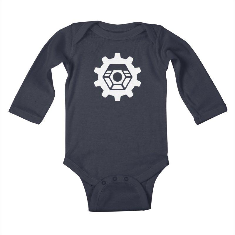 Tyler McNair Art and Design Logo (white) Kids Baby Longsleeve Bodysuit by TyDyed Art