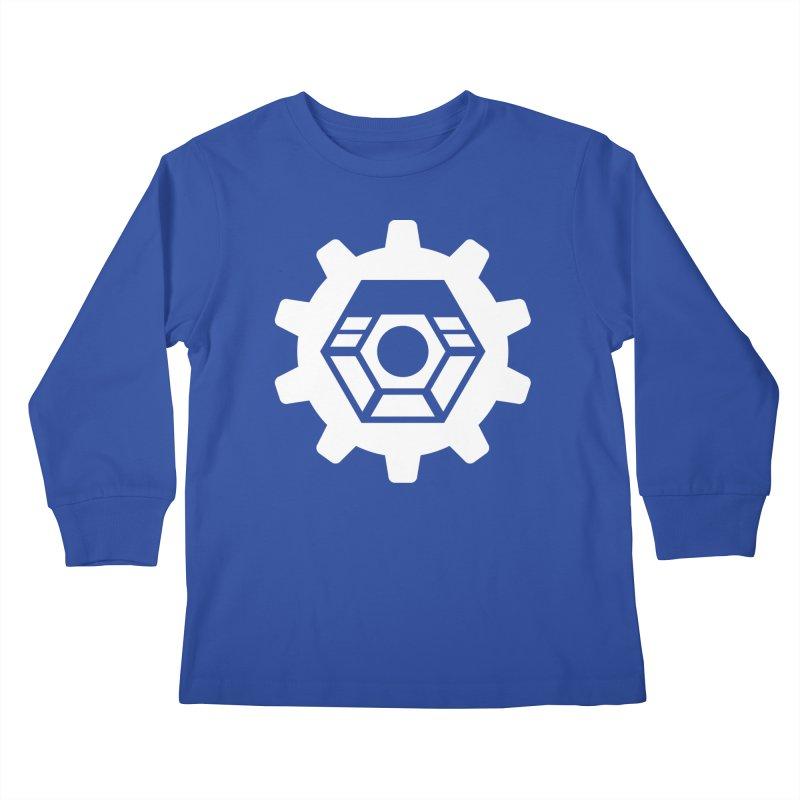 Tyler McNair Art and Design Logo (white) Kids Longsleeve T-Shirt by TyDyed Art