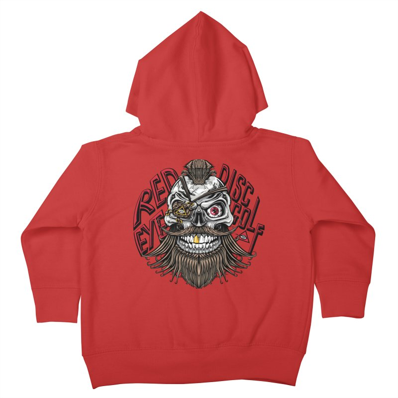 Red Eye Disc Golf Pirate (Gold Background) Kids Toddler Zip-Up Hoody by TyDyed Art