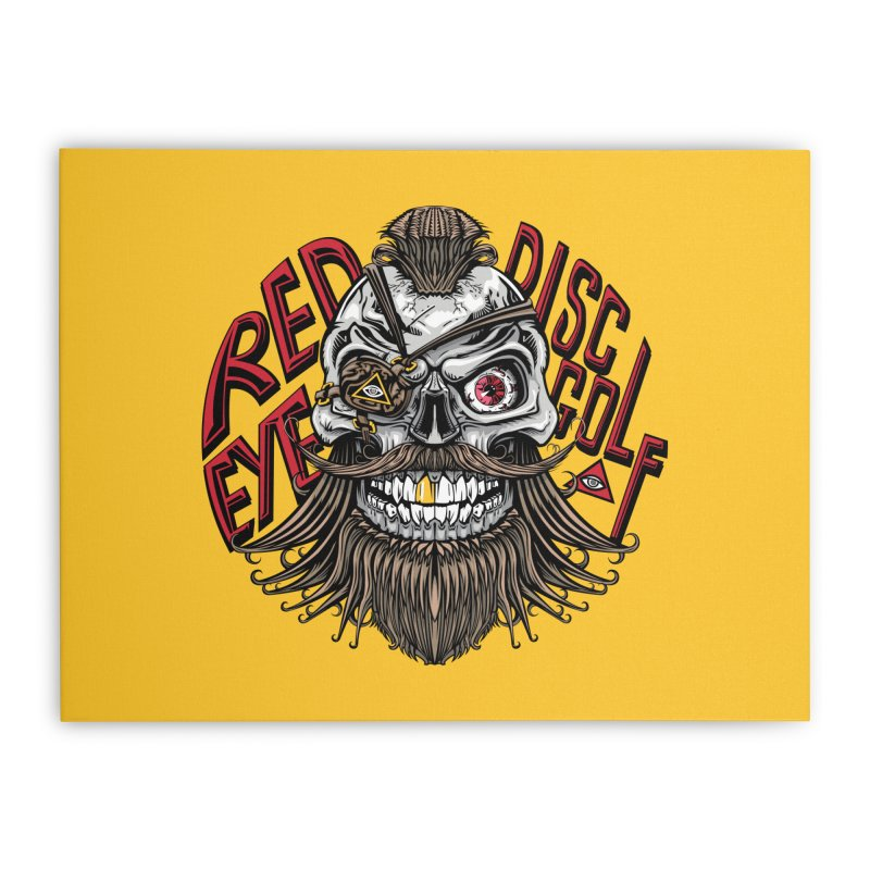 Red Eye Disc Golf Pirate (Gold Background) Home Stretched Canvas by TyDyed Art