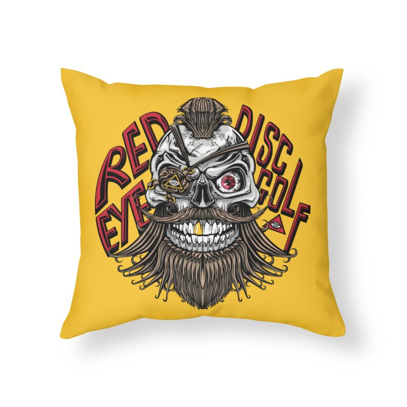 Red Eye Disc Golf Pirate (Gold Background) Home Throw Pillow by TyDyed Art