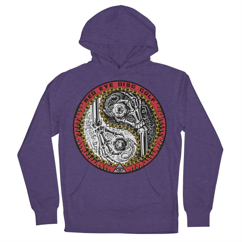 Red Eye Disc Golf Skeleton Yin Yang (color 1) Women's French Terry Pullover Hoody by TyDyed Art