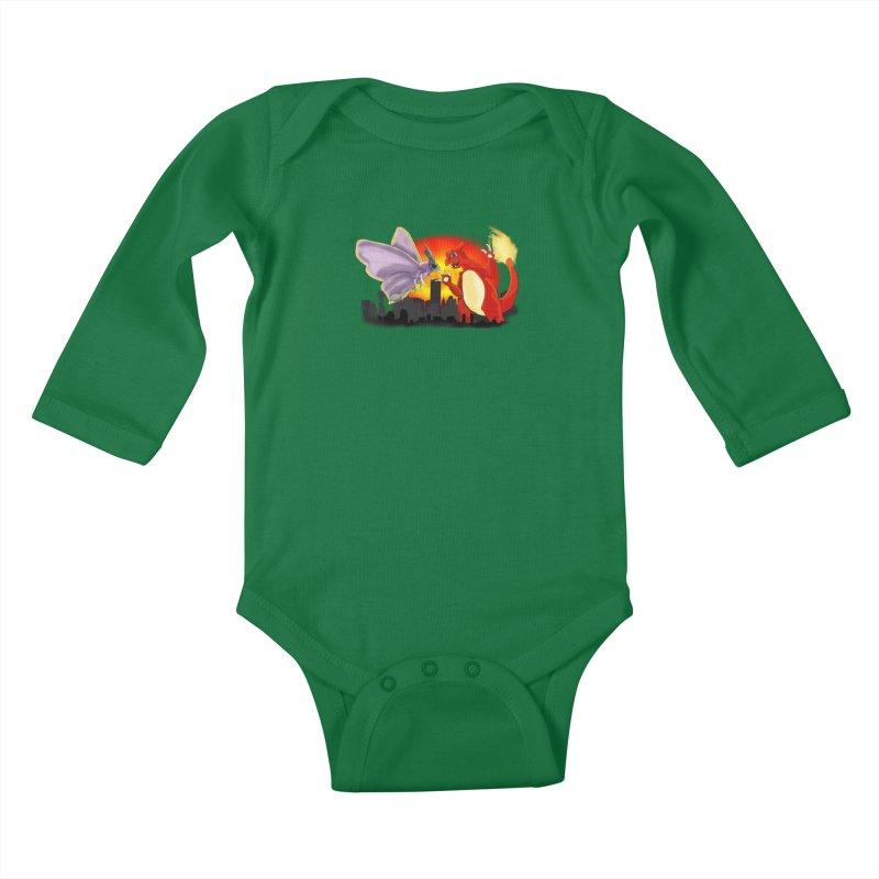 Venomothra Vs. Charzilla Kids Baby Longsleeve Bodysuit by TygerwolfeDesigns's Artist Shop