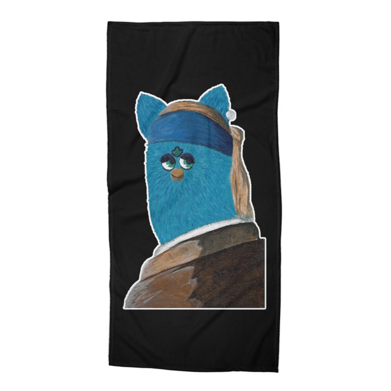 """""""Furby with the Pearl Earring"""" Outline Accessories Beach Towel by Typhoids Take Over"""