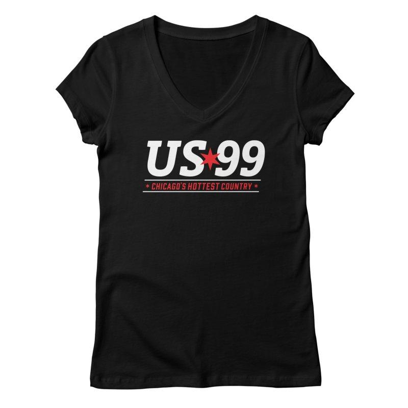 US99 Logo White Women's V-Neck by US99's Artist Shop