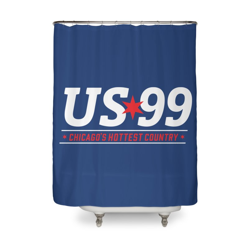 US99 Logo White Home Shower Curtain by US99's Artist Shop