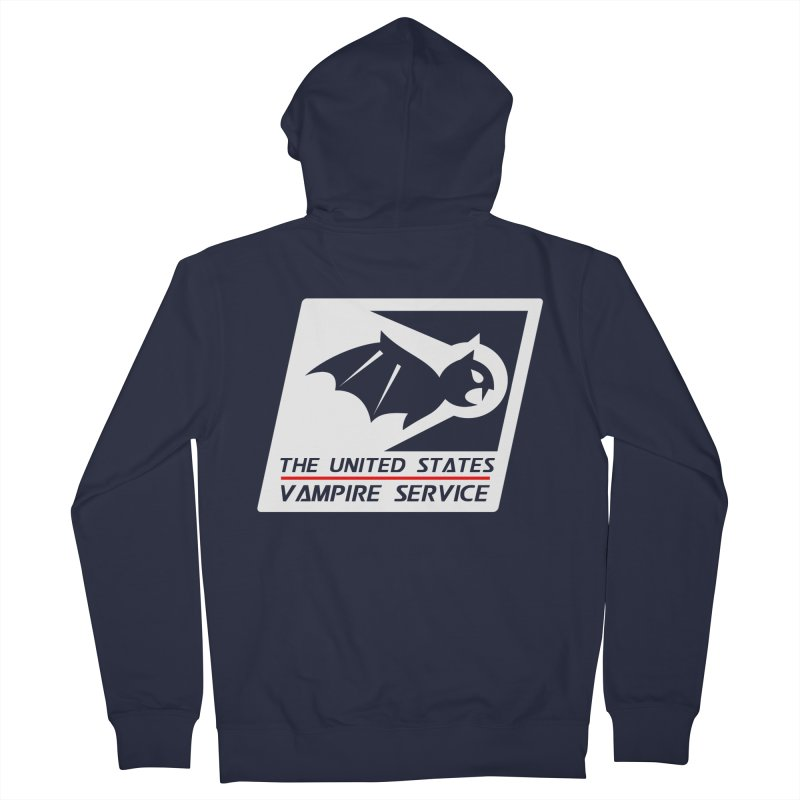USVS Logo in Men's Zip-Up Hoody Navy by The United States Vampire Service Shop