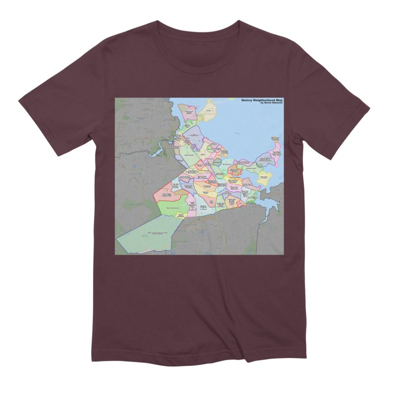 Quincy Neighborhood Map Men's T-Shirt by The United States Vampire Service Shop