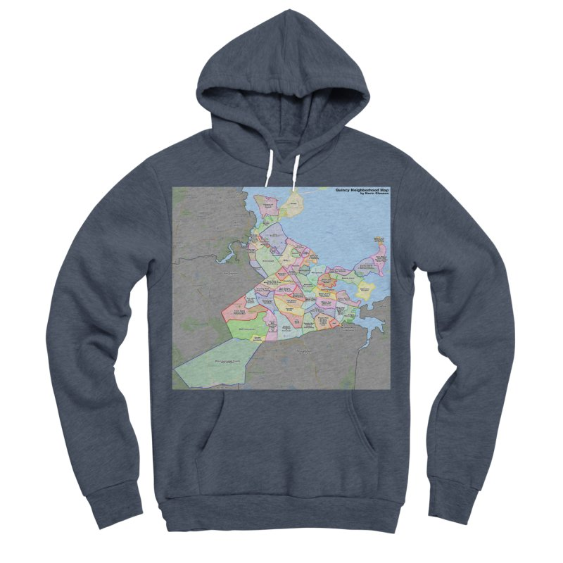 Quincy Neighborhood Map Men's Sponge Fleece Pullover Hoody by The United States Vampire Service Shop