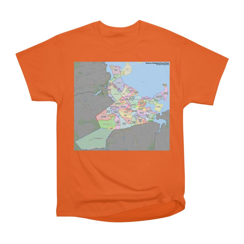 Quincy Neighborhood Map Men's Heavyweight T-Shirt by The United States Vampire Service Shop