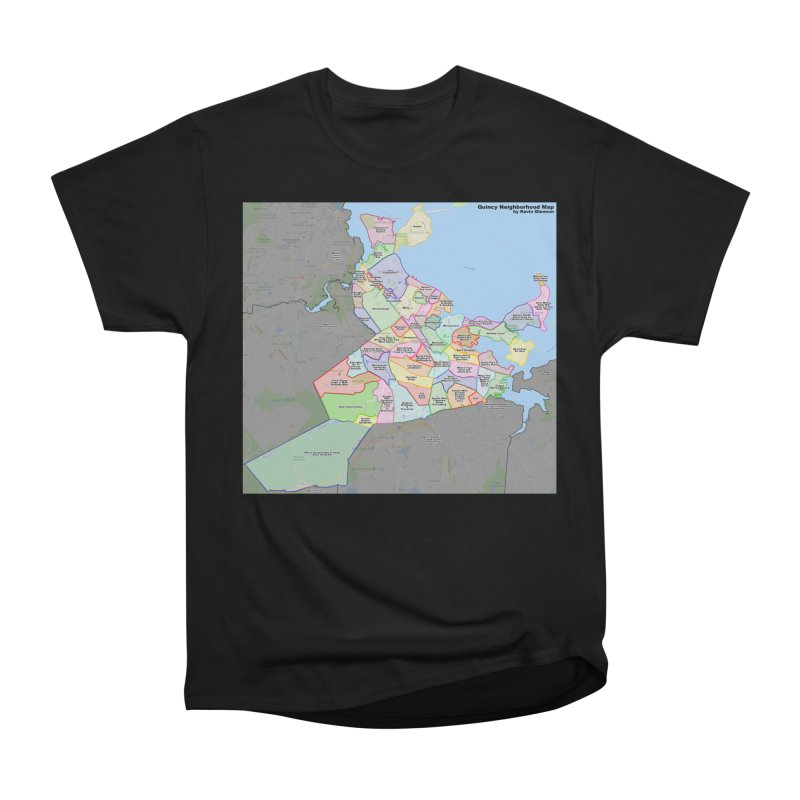 Quincy Neighborhood Map Women's Heavyweight Unisex T-Shirt by The United States Vampire Service Shop