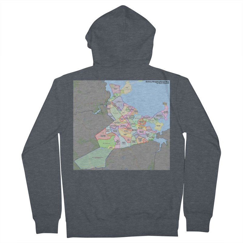 Quincy Neighborhood Map Men's French Terry Zip-Up Hoody by The United States Vampire Service Shop