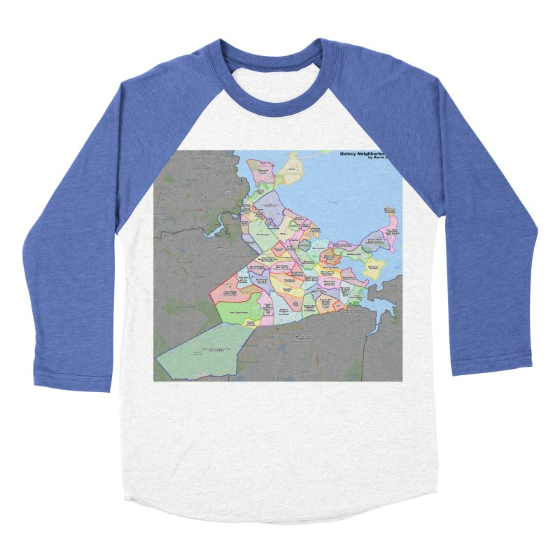 Quincy Neighborhood Map Women's Baseball Triblend Longsleeve T-Shirt by The United States Vampire Service Shop