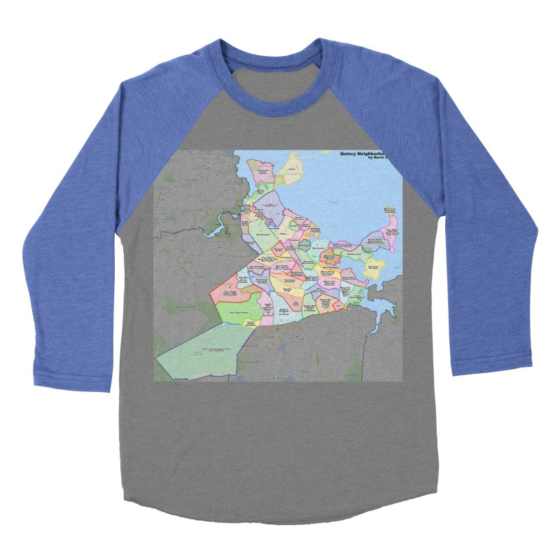 Quincy Neighborhood Map Men's Baseball Triblend Longsleeve T-Shirt by The United States Vampire Service Shop