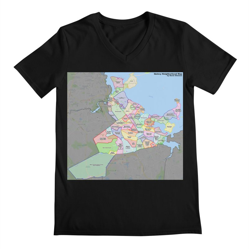 Quincy Neighborhood Map Men's Regular V-Neck by The United States Vampire Service Shop