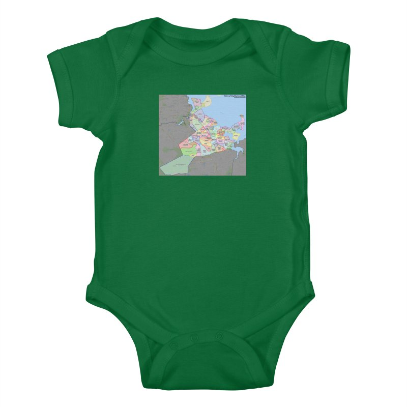 Quincy Neighborhood Map Kids Baby Bodysuit by The United States Vampire Service Shop