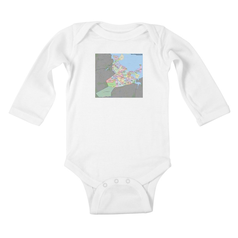 Quincy Neighborhood Map Kids Baby Longsleeve Bodysuit by The United States Vampire Service Shop