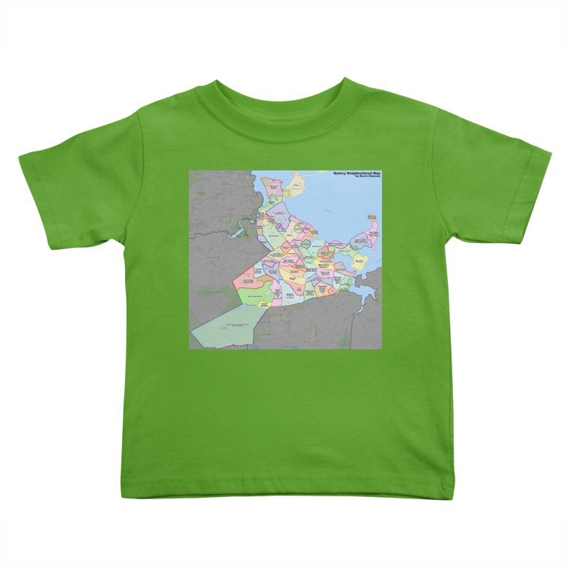 Quincy Neighborhood Map Kids Toddler T-Shirt by The United States Vampire Service Shop