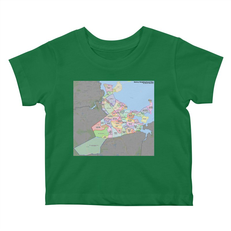 Quincy Neighborhood Map Kids Baby T-Shirt by The United States Vampire Service Shop