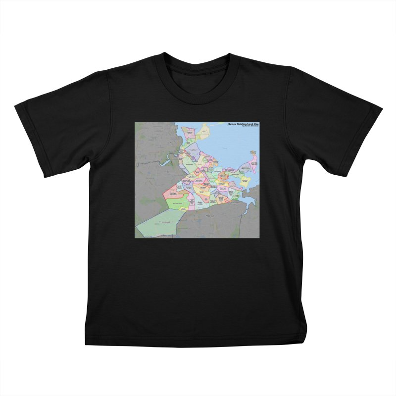 Quincy Neighborhood Map Kids T-Shirt by The United States Vampire Service Shop