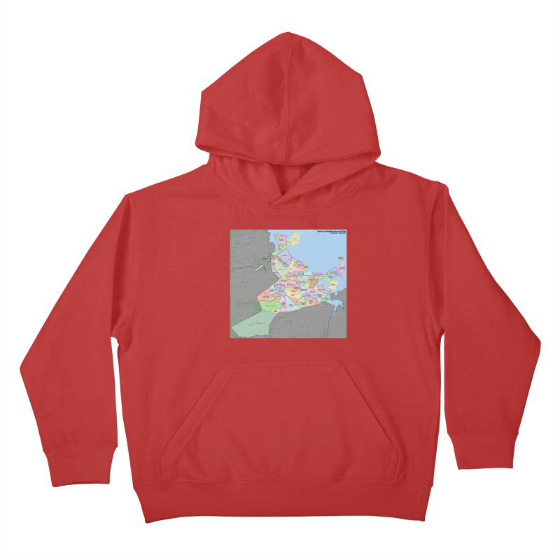 Quincy Neighborhood Map Kids Pullover Hoody by The United States Vampire Service Shop
