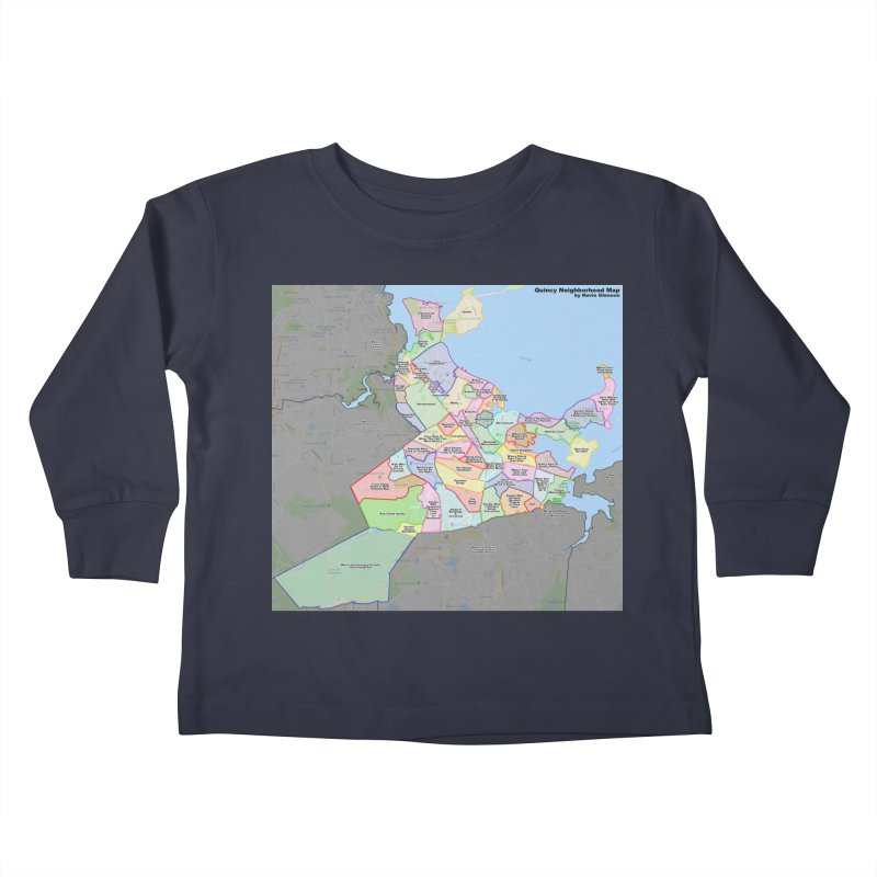 Quincy Neighborhood Map Kids Toddler Longsleeve T-Shirt by The United States Vampire Service Shop