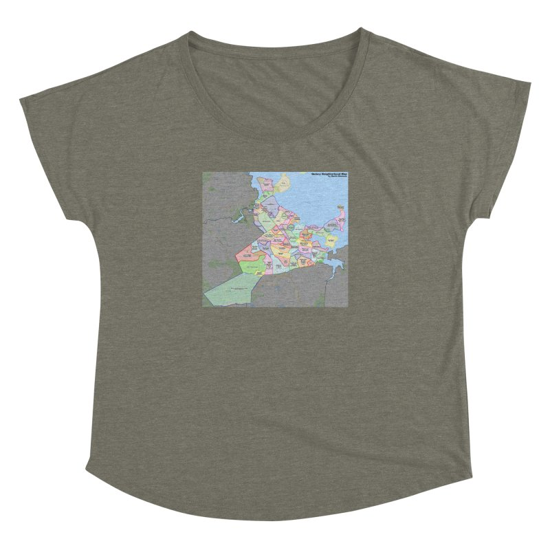 Quincy Neighborhood Map Women's Dolman Scoop Neck by The United States Vampire Service Shop